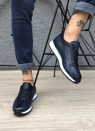 MARTINETTO Hakiki Deri Sneaker Lacivert